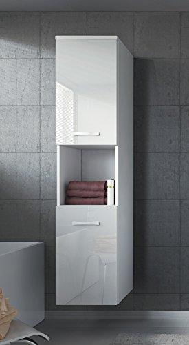 Badezimmer Schrank Montreal 131 cm Weiß Hochglanz Fronten – Regel Schrank Hochschrank Schrank Möbel