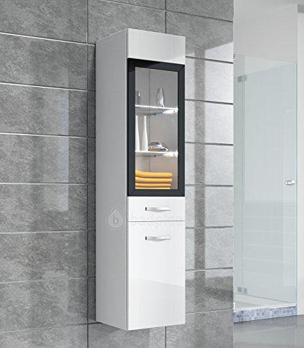 Badezimmer Schrank Rio 131 cm Hochglanz Weiß Fronten – Regal Schrank Hochschrank Schrank Möbel