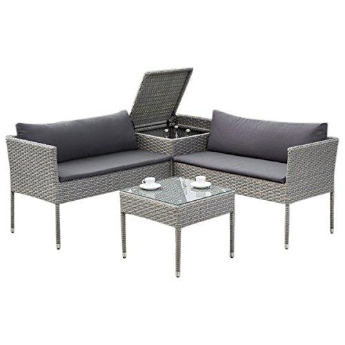 Balkon Loungeset BRESCIA mit Staufach, Stahl + Polyrattan grau, Polster dunkelgrau