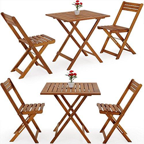 Balkonset Akazie 2 Stühle 1 Tisch klappbar - Gartenmöbel Sitzgruppe