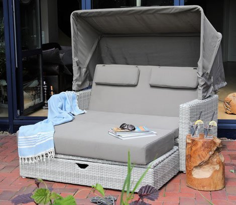 "Beauty.Scouts Loungeset ""Goa"" Sonneninsel Sofa 2-Sitzer Multifunktions-Lounge inkl Polster grau modern Loungemöbel Garteninsel Strandkorb wetterfest"