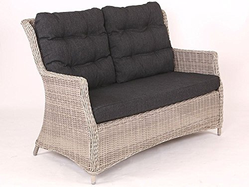 "Beauty.Scouts Sofa Loungesofa ""Sally"" Rattan vintage braun inkl. Polster natur Relaxsofa Gartensofa Polyrattan Rattansessel taupe inkl. Sitzpolster"