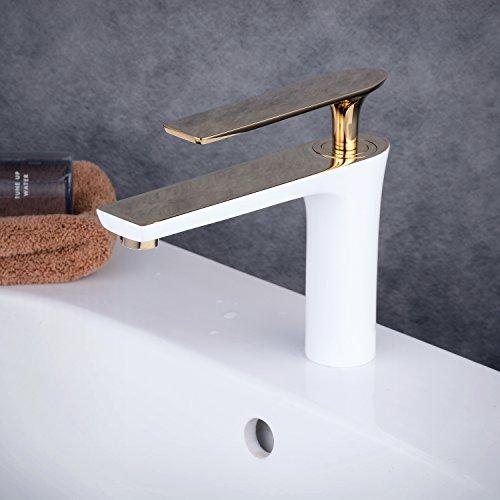 Beelee Weiß Gold Wasserhahn bad Armatur Waschtischarmatur Waschbeckenarmatur Einhebelmischer Mischbatterie Waschtisch Waschbecken Badarmatur f.badzimmer