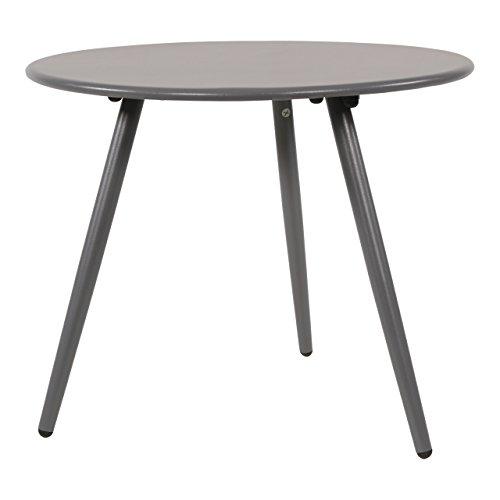 Beistelltisch aus Metall in grau, Gartentisch rund 45x45 cm, dreibeinig, wetterfest. Ideal als Garten, Balkon-Tisch & Terrassentisch.