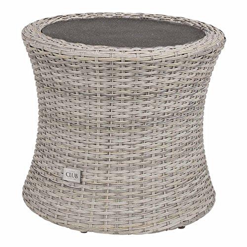 Beistelltisch aus Polyrattan Geflecht grau. Wetterfester Gartentisch, Spraystone-Tischplatte und Alu-Gestell, ideal als Garten, Balkon und Terrasse