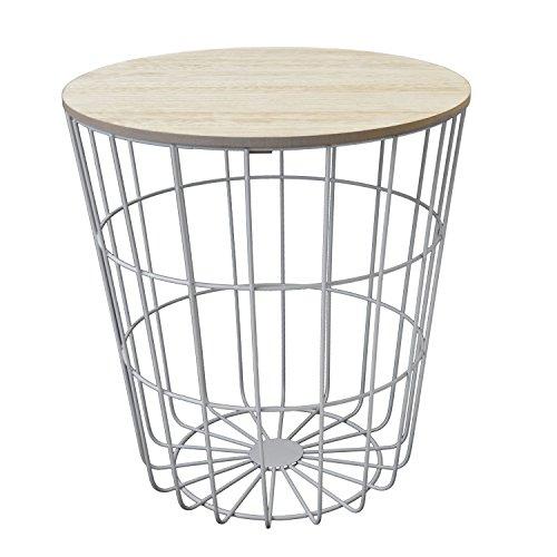 Beistelltisch rund 40xH43cm, weißer Metallkorb mit abnehmbarer Holzplatte - Aufbewahrungskorb Couchtisch Blumentisch Loungetische