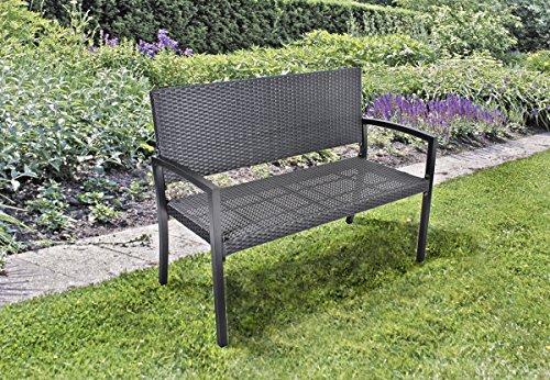 Benelando 2-Sitzer Gartenbank in schwarz aus Aluminium und stabilem Kunststoffgeflecht
