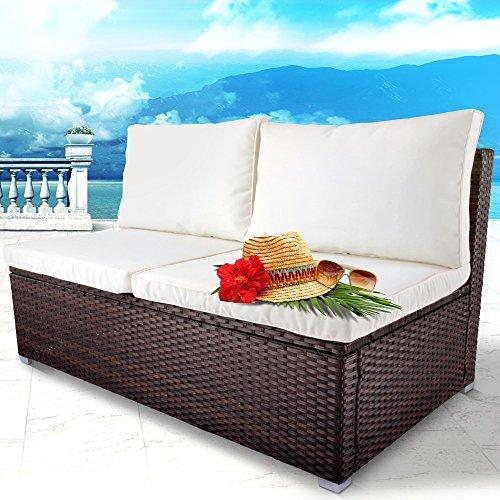 Bequemes Loungesofa aus Polyrattan für bis zu 2 Personen Zweisitzer Gartenmöbel inkl. Sitzkissen -Farbwahl- schwarz, grau oder braun