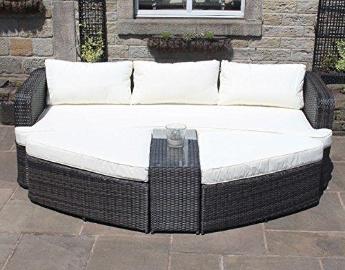 Braun Rattan Lounge Set Sofa mit Tisch & Osmanen Outdoor Garten Möbel