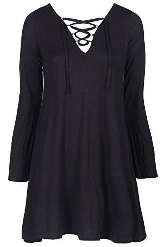CELEB LOOK Damen Skater Kleid, Einfarbig 70 DEN Gr. 38, Schwarz - Schwarz