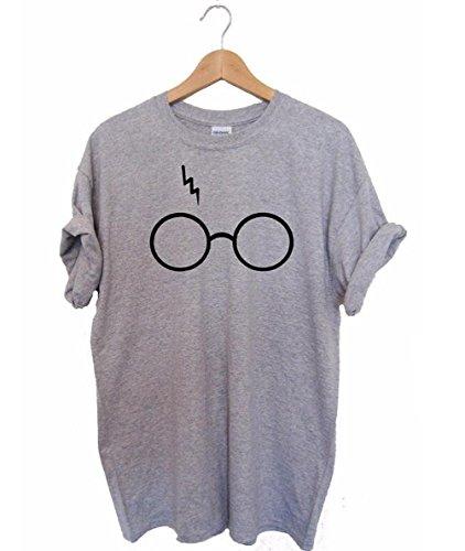 CHDT-Shirt Damen Sommer Shirt Harry Potter Laserbrille Drucken Oberteile Casual Lose Bluse Kurzarm Rundhals T-Shirt Tops