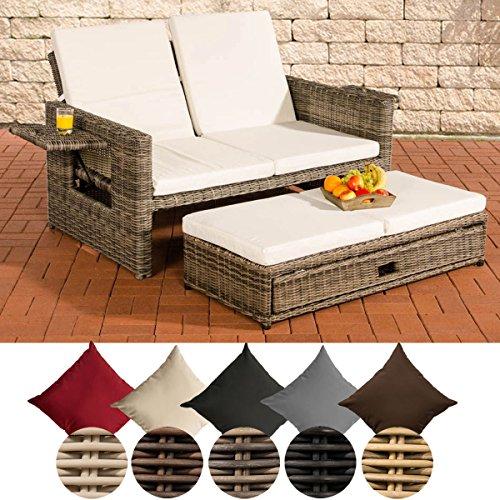CLP Poly-Rattan 2er Lounge-Sofa ANCONA, Geflecht RUND, ALU-Gestell, ausziehbare Fußbank, flexibel verstellbar