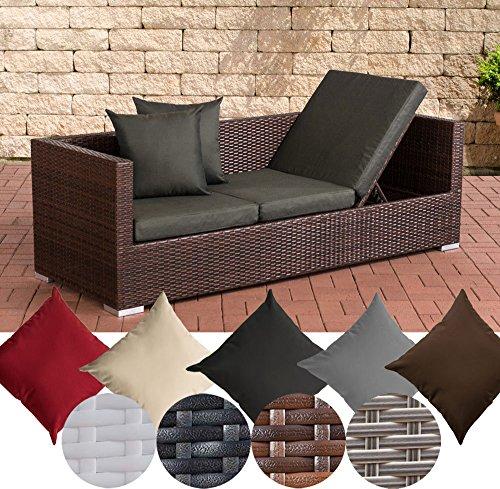 CLP Poly-Rattan Lounge-Sofa / Sonnenliege SOLANO, ALU-Gestell, 3er Gartensofa