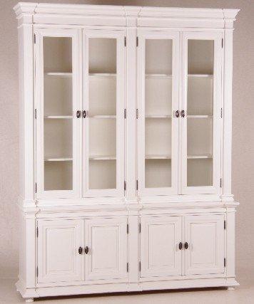 Casa Padrino Shabby Chic Landhaus Stil Schrank Buffetschrank 4-türig Antikstil Weiß - Schrank Esszimmer