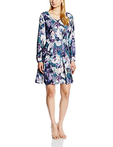 Closet Damen Kleid Floral V Neck Long Sleeve