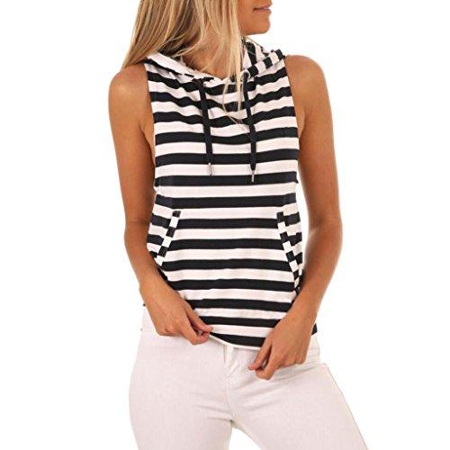 DEELIN Damen Streifen T-Shirt mit Kapuze Ärmellosen Casual Tops Bluse