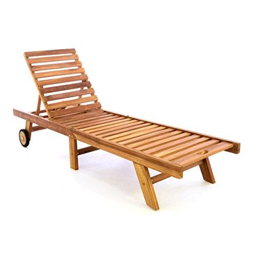 DIVERO Sonnenliege Gartenliege Relaxliege Liege aus Teak Holz 200 x 57 x 34 cm klappbar Holzliege, extra hohe Rückenlehne bis zur Liegeposition abklappbar wetterfest robust