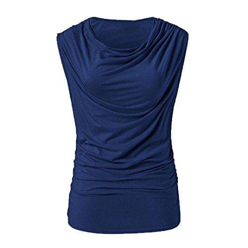 Damen Bluse, Beikoard Frauen Mode ärmelloses Rundkragen gefaltet Pure Farbe Casual Slim Tops Baumwolle Mischung Bluse Tee