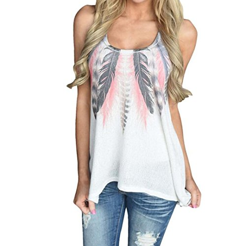 Damen Bluse, iHee Damen Sommer Mode Feather Sleeveless Printed Weste Shirt Bluse Casual Tank Tops T-Shirt