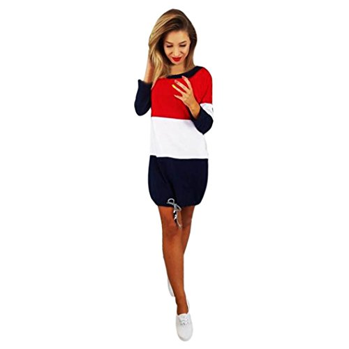 Damen Kleider, GJKK Damen Casual Feiertags O-Ausschnitt Partykleider Patchwork Rückenfrei Minikleid Damen Beiläufiges Kleid Langarm Kleid Vintag Kleider T-Shirt Kleid