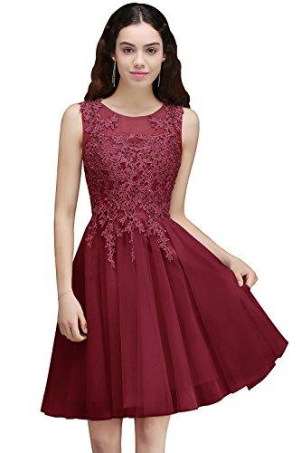 Damen Prinzessin V-Ausschnitt Tüll Cocktailkleid Applique Ballkleid Abendkleid Rückenfrei Knielang Gr.32-46