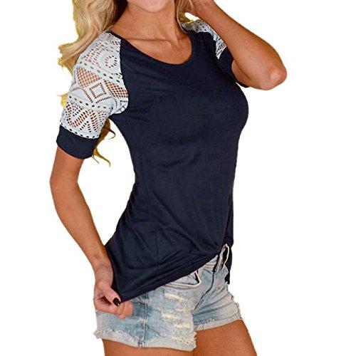 Damen T-shirt Spitze Ärmel, Sunday Damen Mode Frauen Sommer Bluse Casual Tops Spitze T-Shirt T Kurzarm Mode Shirt
