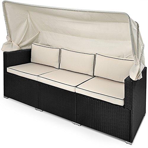 Deuba® Poly Rattan Lounge Liege schwarz ✔faltbares Sonnendach ✔7cm dicke Sitzauflagen creme ✔UV-beständiges Polyrattan ✔wasserabweisend - Loungeliege Gartenliege Gartenlounge Sitzbank Strandkorb Sonnenschutz