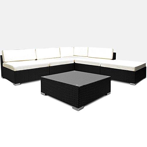 Deuba® XXL Poly Rattan Lounge Set schwarz ✔7cm dicke Sitzkissen creme ✔Elemente flexibel kombinierbar ✔UV-beständiges Polyrattan - Sitzgruppe Gartenmöbel Gartenset Gartenlounge