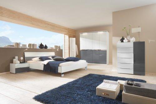 Dreams4Home Schlafzimmerkombination 'Kyra', Schrank, Bett, 2 x Nachtschrank, Kommode, Schlafzimmer komplett, weiß / grau, Liegefläche:180x200 cm