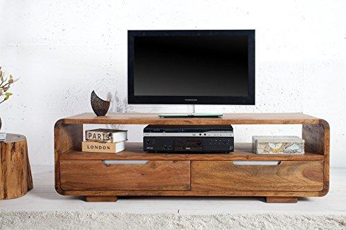 DuNord Design Sideboard PANAJI TV-Board Lowboard 130 cm Sheesham Massivholz natur TV Möbel