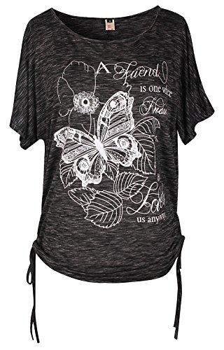 ELFIN Damen Sommer T-Shirt Kurzarm Rundhals Druck Muster Oberteile Loose Fit Bluse Tops (ZD4FKZHP)
