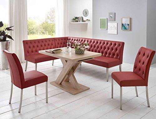Eckbankgruppe Milan Eiche Sonoma bordeaux Eckbank 2x Stuhl Säulentisch Esstisch Tisch Sitzgruppe Bankgruppe Esszimmer