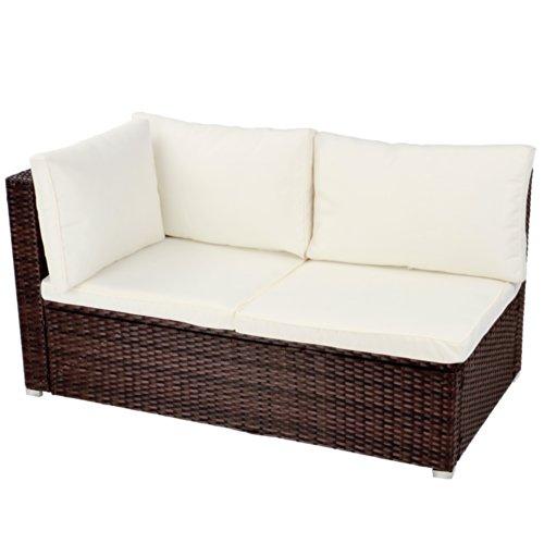 Ecksofa für bis zu 2 Personen aus Polyrattan Gartenmöbel inkl. Sitzkissen -Farbwahl- schwarz, grau oder braun