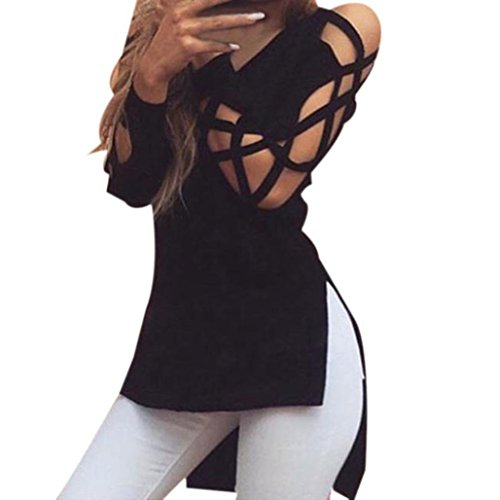 Elecenty Damen Tops Bluse Pulli T-shirt Hohle Hülse Solide Kapuzenpullis Frauen Hemden Lose Hemd Pullover V-Ausschnitt Irregulär Sweatshirts Blusen Mode Hemd Blusentop