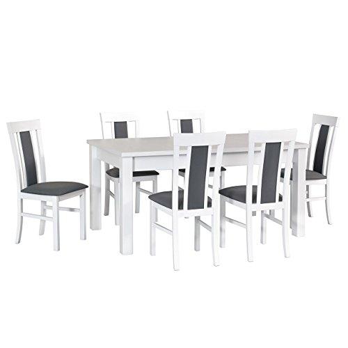 Essgruppe mit 6 Stühlen DM-01, Esstisch + Stuhlset, Esszimmergarnitur, Tischgruppe, Esstischgruppe, Sitzgruppe, Esszimmer Set