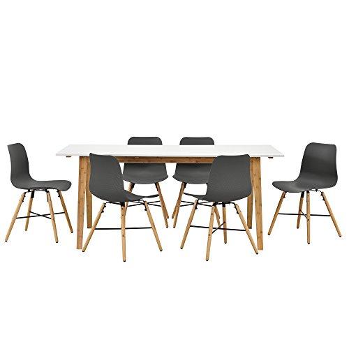 Esstisch in weiß/Bambus mit 6 Stühlen