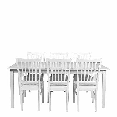 Esstisch mit Stühlen in Weiß im skandinavischen Landhausstil (7-teilig) Pharao24