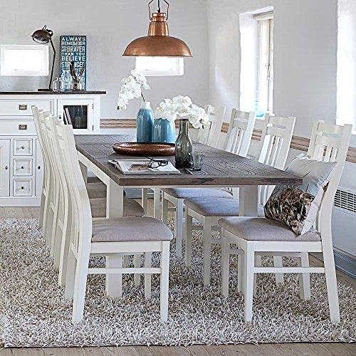 Esstisch mit Stühlen in Weiß und Braun skandinavisch (9-teilig) Pharao24