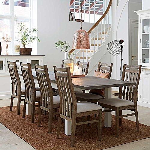 Esszimmer Sitzgruppe mit ausziehbarem Tisch Braun Weiß (9-teilig) Pharao24