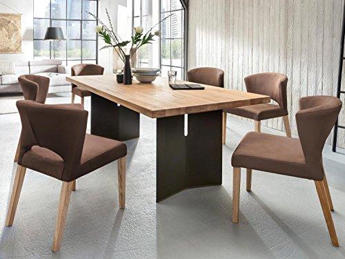 Esszimmerstuhl Polsterstuhl 2-er Set Runa Kunstleder Massiv Holz braun Komfort Stuhl
