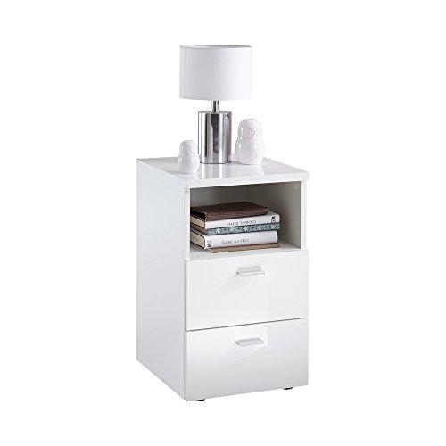 FMD Möbel Colima 1 Up Nachtkonsole, Holz, hochglanz weiß, 35 x 40 x 61.5 cm
