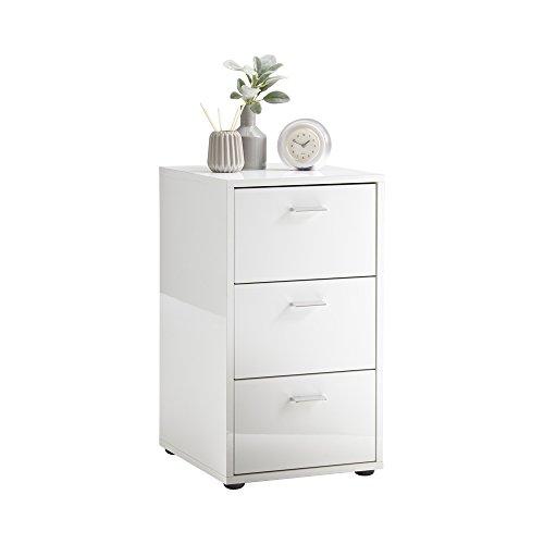 FMD Möbel Virginia 1 Up Nachtkonsole, Holz, hochglanz weiß, 35 x 40 x 62.5 cm