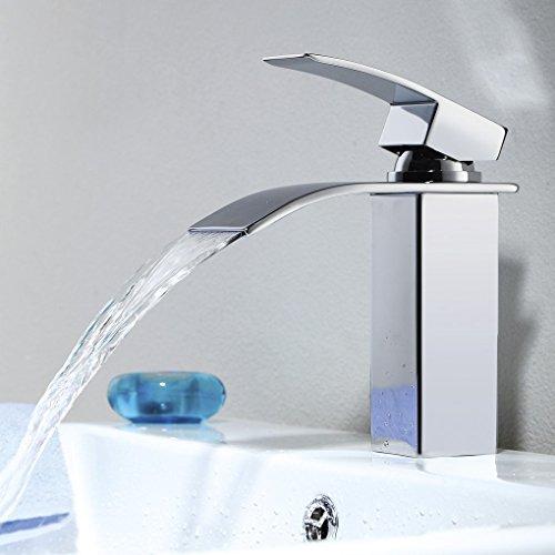 Fandaucy Wasserfall Mischbatterie Chrom Wasserhahn Bad Armatur Waschbecken Einhebelmischer Waschtischarmatur Waschtischmischer Waschbeckenarmatur Badarmatur