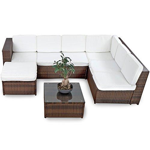 Farbwahl - 15tlg. Deluxe Lounge Garnitur Cuba Sitzgruppe Gartenmöbel Rattan Set Geflecht Polyrattan inkl. Sitzkissen