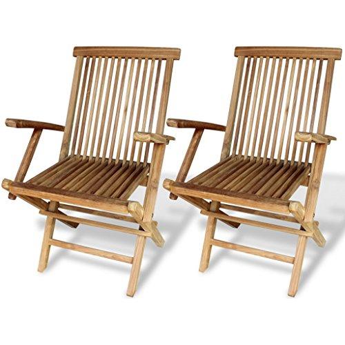 Festnight 2 Stk. Gartenstühle aus Imprägniertes Teakholz Klappstuhl Stuhlset mit Armlehnen Holzstuhl 55 x 60 x 89 cm