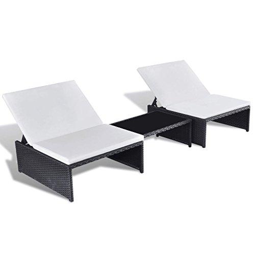 Festnight Polyrattan Lounge Set Zweisitzer Loungemöbel Loungeset Schwarz