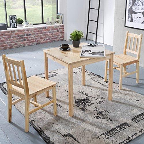 FineBuy Esszimmer-Set EMILIO 3 teilig Kiefer-Holz Landhaus-Stil 70 x 73 x 70 cm   Natur Essgruppe 1 Tisch 2 Stühle   Tischgruppe Esstischset 2 Personen   Esszimmergarnitur massiv