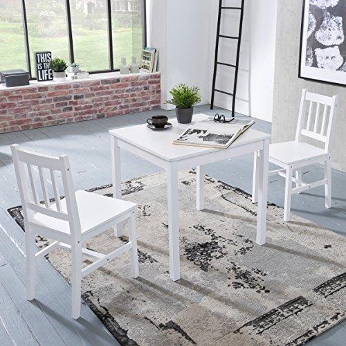 FineBuy Esszimmer-Set EMILIO 3 teilig Kiefer-Holz weiß Landhaus-Stil 70 x 73 x 70 cm   Natur Essgruppe 1 Tisch 2 Stühle   Tischgruppe Esstischset 2 Personen   Esszimmergarnitur massiv