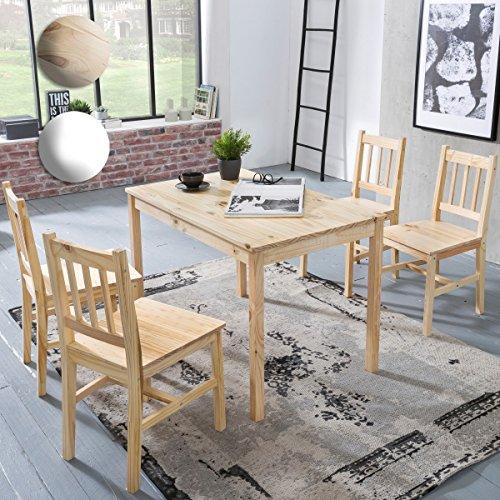 FineBuy Esszimmer-Set EMILIO 5 teilig Kiefer-Holz Landhaus-Stil 108 x 73 x 65 cm   Natur Essgruppe 1 Tisch 4 Stühle   Tischgruppe Esstischset 4 Personen   Esszimmergarnitur massiv