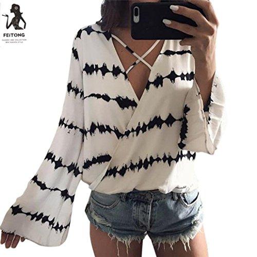 Frauen Langarm Tuniken Herbst Sommer Crop Top Mode T-Shirt Shirt Bluse Damen Sweatshirt Vintage Oberteile V-Ausschnitt Freizeit Weste Chiffon Hemden